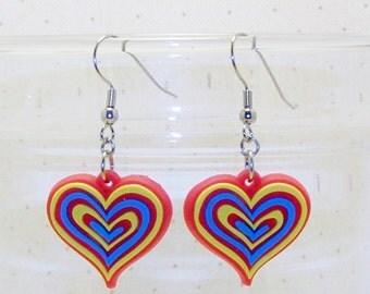 Colorful Valentine Heart Earrings. Heart Jewelry,  Dangling Heart Earrings, Fun Earrings