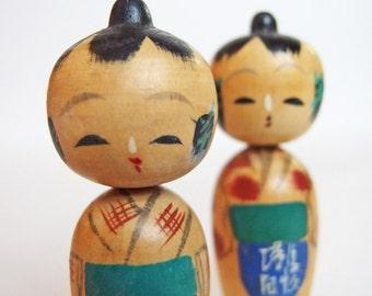 Handmade Wooden Kokeshi Dolls. Cute Vintage Wooden Dolls Hand Painted in Japan. 1950s.