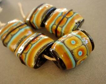 SRA Lampwork Beads, Dark Brown Turquoise Glass Beads, Destash Lampwork Beads, - 5 beads
