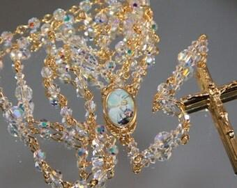 Catholic Baptism Rosary in AB Swarovski Crystal