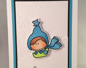"Handmade Greeting Card~""You're SNOW Much Fun!""~Winter~Thank You~Thinking of You~CC Designs~Blue"
