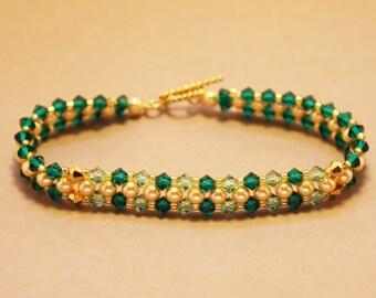 Emerald Green Swaravski Crystal Bracelet