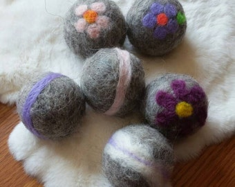 100% wool dryer balls, hand made all natural, Unscented