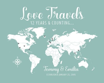 Custom Love World Map, Love Travels Title, Anniversary Gift for Husband, Wife, World Travelers, Coastal Colors, Home Decor, 12 Years | WF263