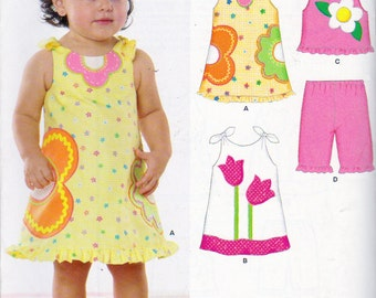 New Look 6793, Baby Girl Sun Dresses and Capri Pants Sewing Pattern, Sizes For Babies  7 to 24 Pounds, Applique Tulips, Flower Power