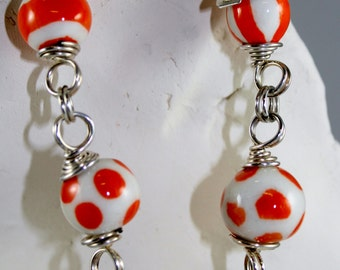 Fabulous Orange and White Porcelain and Silver Bracelet with Polka Dots and Stripes