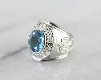 RESERVED - Down Payment - United States Navy, Men's Blue Topaz Military Ring 18Z6X0-P