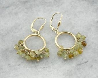 Beaded Peridot and Quartz Drop Earrings in Yellow Gold  XHX942-N