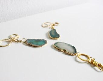Modern Boho Green Agate Keychain,Agate Keychain,Agate Slice Keychain,Women Gift,Gifts Under 20,Gift for Her,Keychain,Boho Keychain