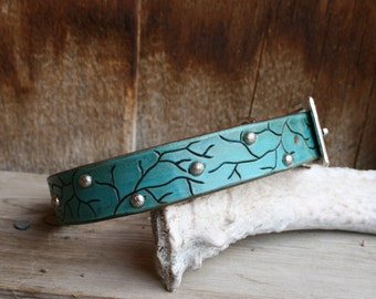 Turquoise Leather Dog Collar With tree, branch design and silver spots, studs