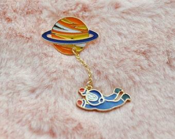 Cute Saturn Orange Blue Astronaut NASA Space Solar System Dangle Planet Sci Fi Pin Badge