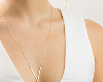 Badass V Necklace Gold, Silver, or Rose / Point Necklace, Triangle Necklace, Angled Bar Necklace / THE WALSH, LN145_c1