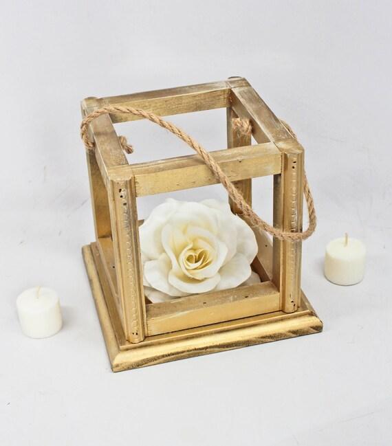Gold wedding lantern centerpiece rustic wooden
