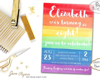 INSTANT DOWNLOAD - Rainbow Art Birthday Party Invitation - Art Party Invitation - Rainbow Invite - Watercolor - Unicorn Party - Paint Party