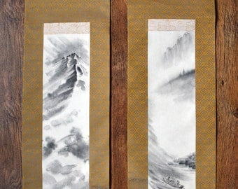 Japanese landscape. Original handmade scroll. Set of 2 brush painting. River and mountain. Zen art.