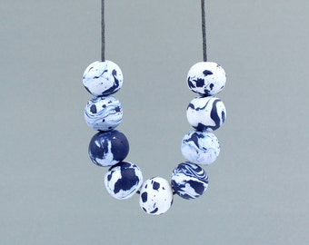 Navy Marble Necklace, Marble Bead Necklace, Navy and White Necklace, Statement Necklace, Navy Bead Necklace, Art Jewellery, Beaded Necklace