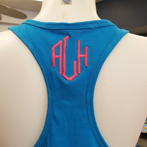 Racerback Tank with Embroidered Initials, Tank with Monogram Embroidered,  Custom Workout Tank Top, Personalized Racerback Tank Top