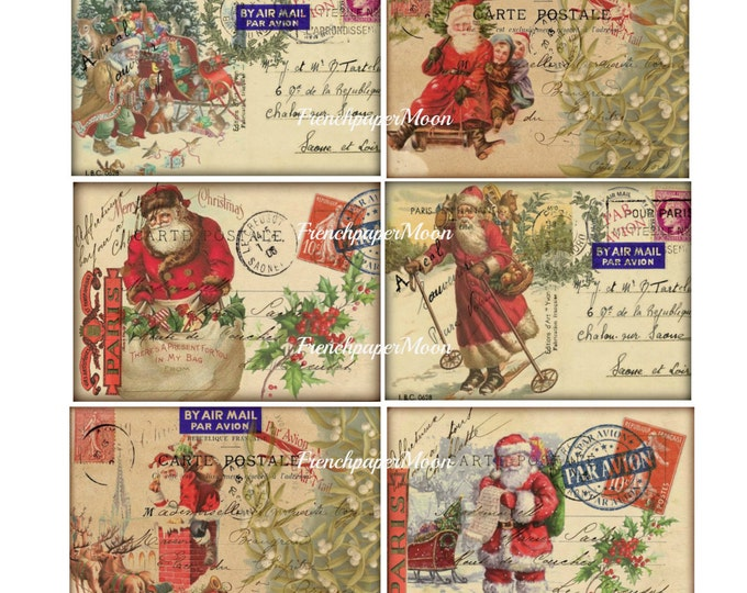 Vintage Digital Santa Postcards, Set of 6 Old fashioned Christmas Postcards, Christmas Printable Sheet