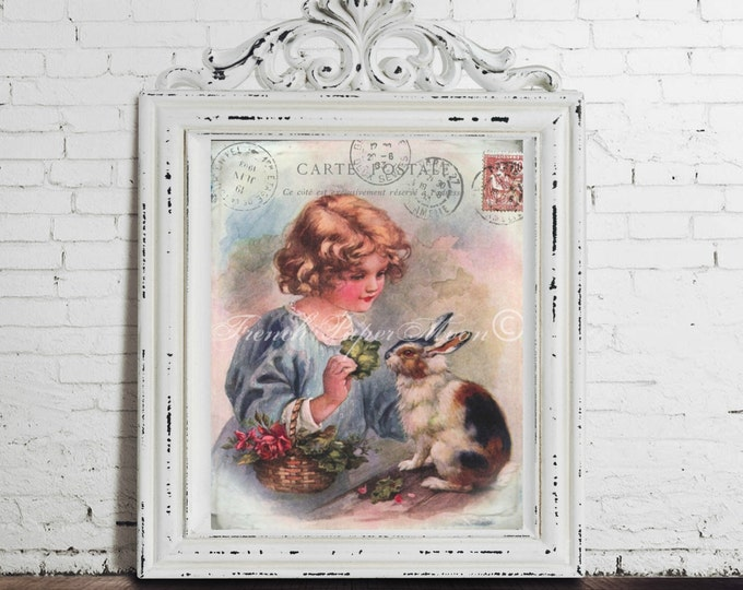 Vintage Easter Bunny Girl, Victorian Child, Bunny, Shabby French Carte Postale Download, Easter Pillow Digital Transfer Image Graphic