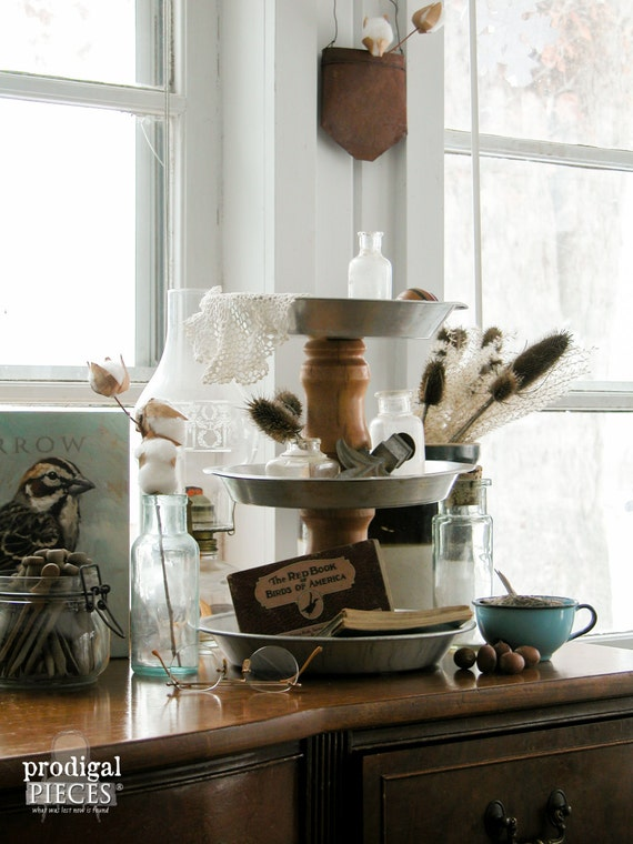 Repurposed Farmhouse Style Pie Pan Tiered Tray Stand