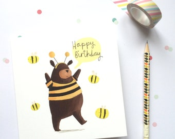 Bear and the Bees Birthday Card