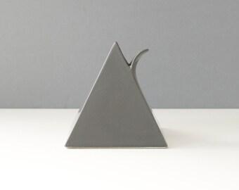 Vintage Mikasa Ceramic Pyramid Bud Vase Gray Modernist Geometric