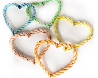 Heart Ornament - recycled lobster rope - pretty pastel colors, single ornament or box set