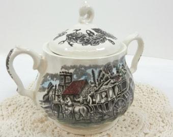 Myott Royal Mail Multi-Color Staffordshire Covered Sugar Bowl Transferware England Coaching Horses