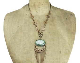 Long Copper Necklace with Large Green Stone, Copper Fringe Necklace, Copper Wire Necklace