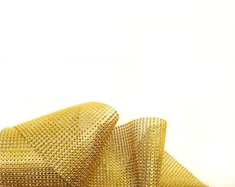 Gold Diamond Mesh Wrap, Bling Ribbon, Rhinestone Mesh - Wedding / Party Supplies