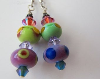 Dangle Earrings Lavender Pink Green Multi Lampwork and Swarovski Crystal Earrings