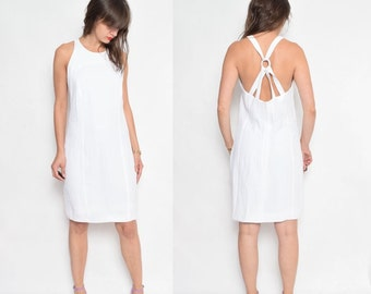 Vintage 80's Textured White Criss Cross Dress / Sleeveless White Dress