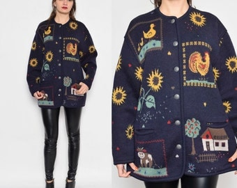 Vintage 80's Sunflower Rooster Duck Buttoned Sweater