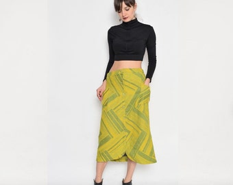 Vintage 80's Yellow And Green iButtoned Midi Skirt