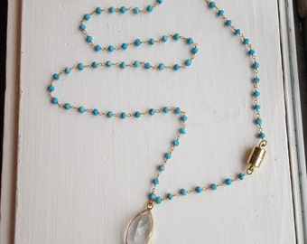 Turquoise Rosary Chain and Gold Tooth Horn Necklace