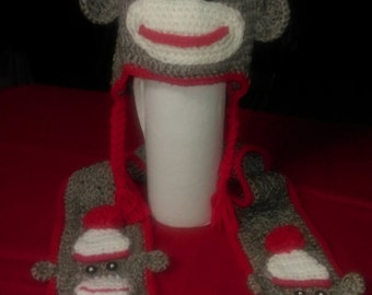 Crocheted Sock Monkey Ear-flap Hat with matching scarf