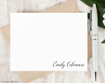 Personalized Script Notecard Set / Set of Flat Personalized Stationary / Stationery Note Card Set / Pretty Hand Lettered Name // HAND LETTER