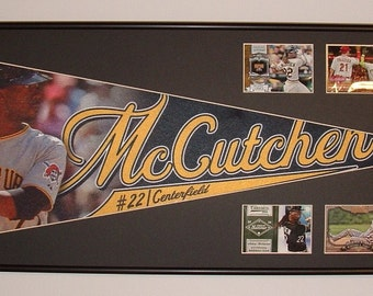 Andrew McCutchen Pittsburgh Pirates Pennant & baseball card collage...Custom Framed!!!