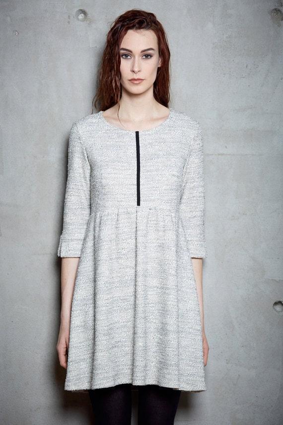LYSVA - knit skater dress, three-quarter flared dress - ivory white