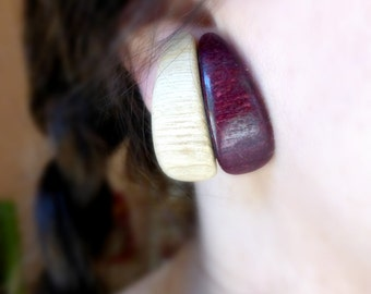 Wood clip on earrings , Eco friendly large non pierced earrings , Geometric retro wooden jewelry