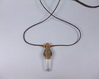 Natural Clear Quartz Point cord necklace  pendant Men - women - adjustable cord