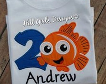 Nemo Birthday shirt with name and birthday number (Girl or Boy)