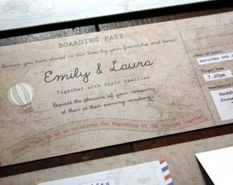 Phileas Fogg Vintage Map Boarding Pass Invitations