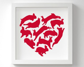 Rabbit Print – Love Heart – Birthday Gift – Rabbit Lover Gift – For Her – Wall Art – In Many Colours – 13 x 13 cm or 23 x 23 cm – Unframed