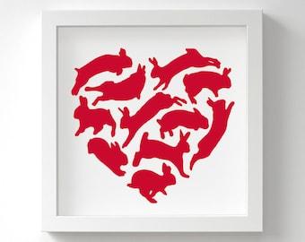 Rabbit Print – Love Heart – Bunny Gift – Rabbit Lover Gift – For Her – Wall Art – In Many Colours – 13 x 13 cm or 23 x 23 cm – Unframed
