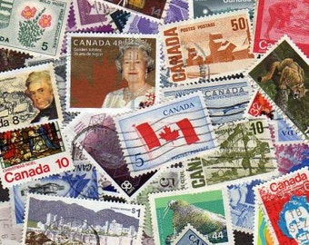 50 Canada Stamps, Stamp Collection, Postage Stamps, Stamps, Lot of Canadian Stamps, Canada Postage Stamps