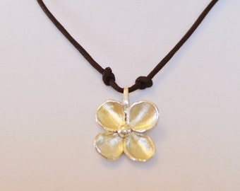 Sterling Silver Flower on Leather - Necklace - Valentine