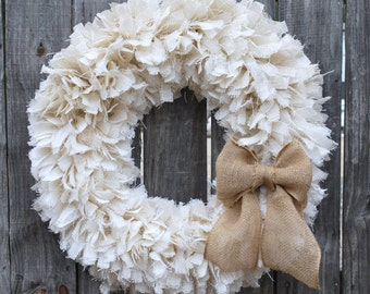 "28"" Burlap Rag Wreath, Winter Wreath, White Wreath, Rustic Wreath, Beach Wreath, Everyday Wreath"