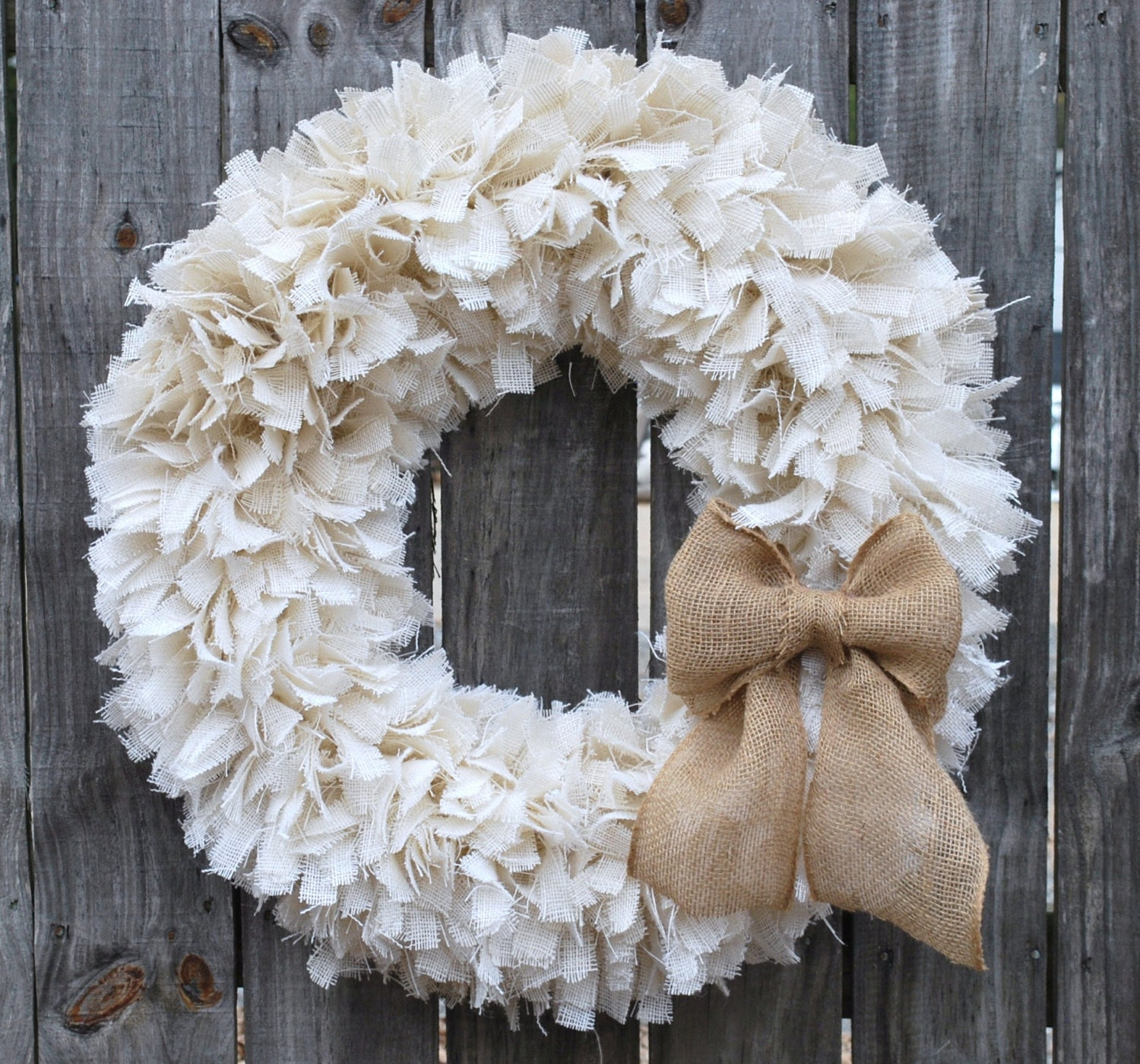 28 Burlap Rag Wreath Winter Wreath White Wreath