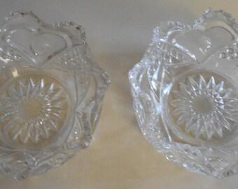 2 Beautiful Vintage Cut Glass Bowls Heart Pattern Unsigned
